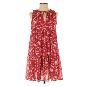Sezane Arielle Red Floral Ruffle Mini Dress